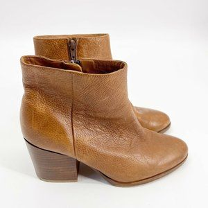 Country Road Cognac Tan Brown pebbled leather ankle boots size 9.5 heel